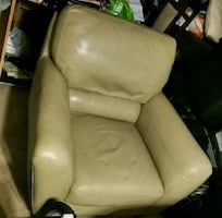 Greenish leather armchair/couch