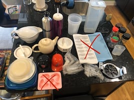Kitchen stuff! Crystal bowl kettle thermos shakers fondue forks & more