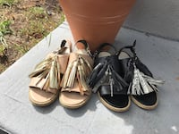 Women's Leather and Wood Tassel Sandals size 5 1/2 Fort Lauderdale, 33304