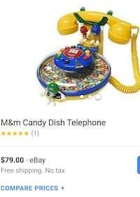 ORIGINAL M&M PUSH BUTTON COLORED CORDED TELEPHONE