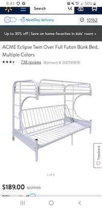Futon bunk bed from Walmart in perfect state
