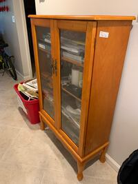 cabinet with glass doors.