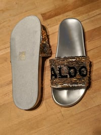 LOVE ALDO size 8 - sequined slides  Montréal, H4C 2T8