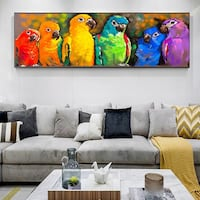 Large Colorful Parrots Canvas Print - Streched and Framed Brand New