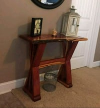 brown wooden framed glass top side table Durham, 27705