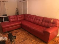Red leather sectional couch. Chaise part in perfect condition. Some wear on left part. $400 OBO Suitland, 20746