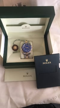 Used Gen Rolex Submariner 16613 Blue dial analog watch with link bracelet in box Bethesda