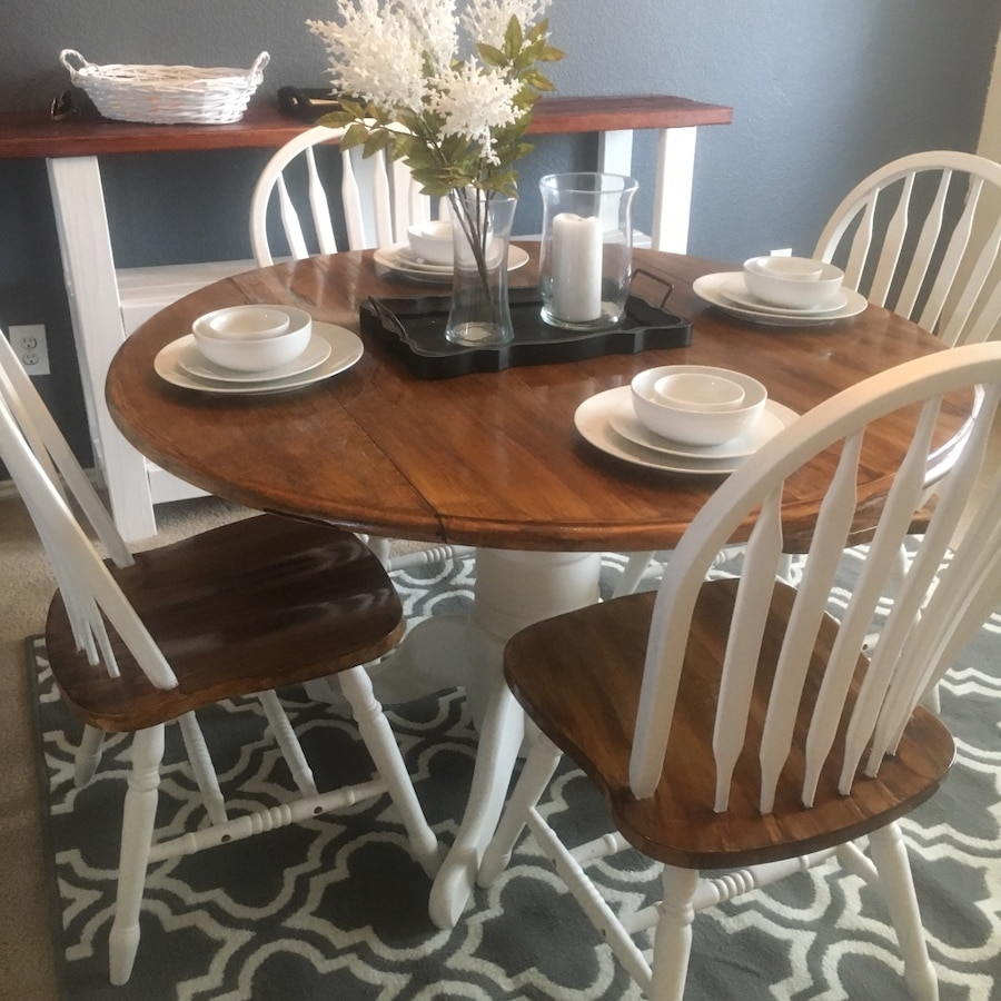 Used White And Brown Wooden Pedestal Table With Windsor