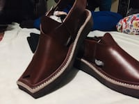 Pair of brown leather slip-on shoes sharukh khan style Calgary, T3J 5E7