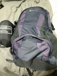gray and purple hiking backpack