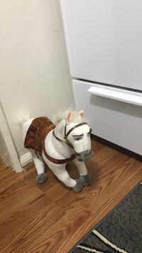 White and brown horse plush toy