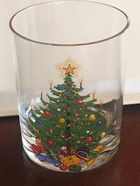 round clear and green Christmas tree printed vase