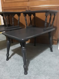 Charcoal/Country gray two-tiered lightly distressed matching end tables  Adamstown, 21710