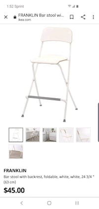 Bar stool with backrest foldable white 7 chairs