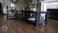Rustic solid wood coffee table and 2 end tables set (new) Brant