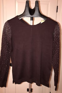 Loft chocolate brown sweater with sparkles on sleeves. medium sz Chantilly, 20152