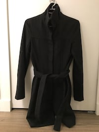 Charcoal grey long jacket with belt Vancouver, V5T 1W6