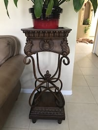 black metal framed brown wooden side table Apollo Beach, 33572