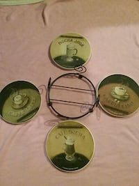 4 piece porcelain over cork coasters with stand Kansas City