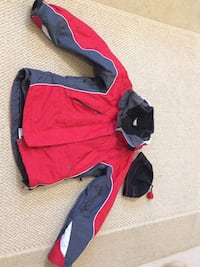 Red and black zip-up ski jacket