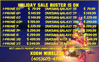 Holiday Sale Buster is here and on! Best place to buy your cell phone and tablets in Oklahoma City. All our devices come with cable, charger and limited warranty. We carry all kinds of smart phones, tablets, accessories, cases and much more. We also do re