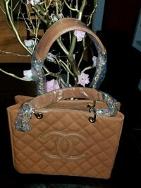 brown leather quilted tote bag Los Angeles, 90062