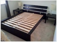 Black dark brown wooden queen bed frame  Whitchurch-Stouffville, L4A 0X8