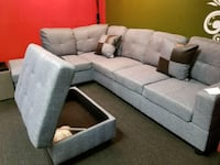Gray fabric sofa with Ottoman Everett, 98204