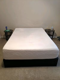 Upholstered Faux Leather Platform Bed FULL + Mattress