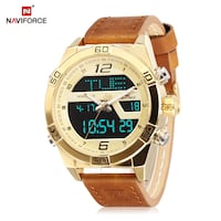 round gold-colored digital watch with brown leather strap Montreal, QC H2M 1P6, Canada