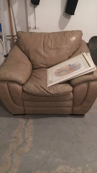 Brown fabric sofa with throw pillows St. Catharines
