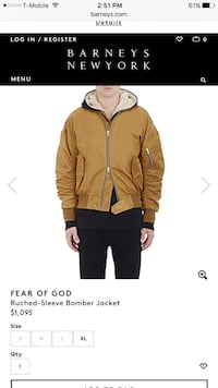 Authentic Fear of God Gold bomber jacket