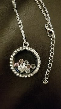 White gold plated locket necklacecharms, crystals