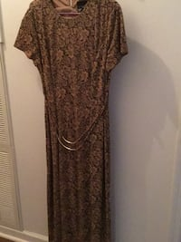brown and white floral scoop neck dress Somerville, 35670