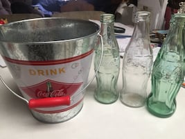 Coca-cola Bucket and three bottles