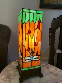 brown and green stained glass table lamp Bear, 19701