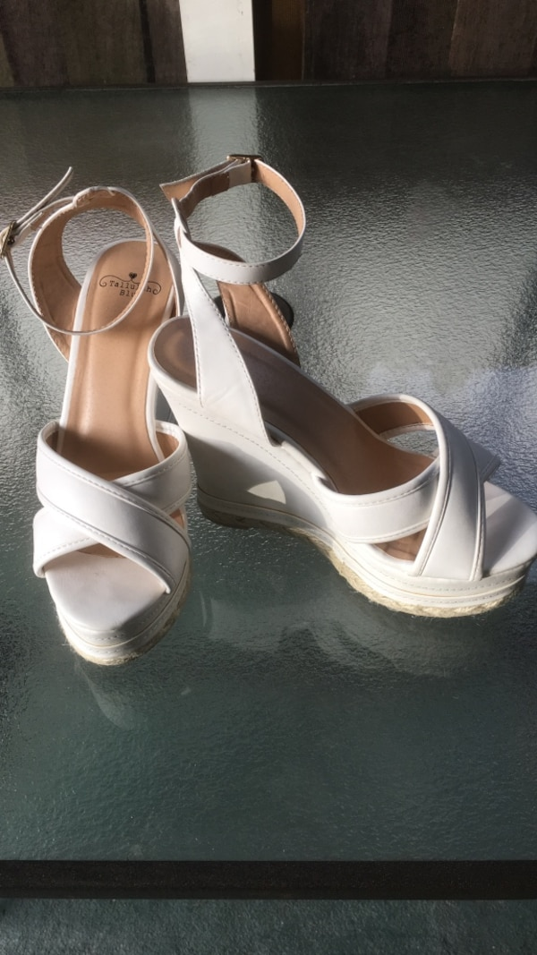 46ba1322763 white leather open toe ankle strap wedge heels