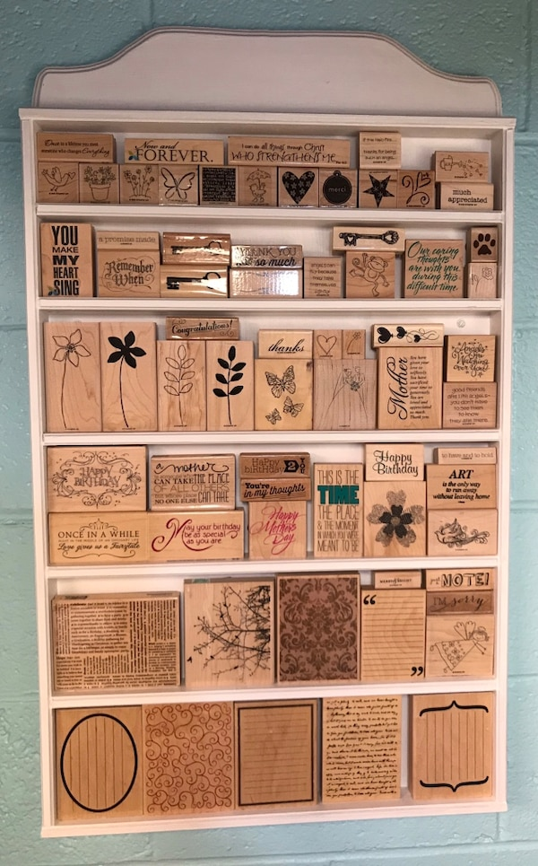 Rubber stamp shelf and all stamps