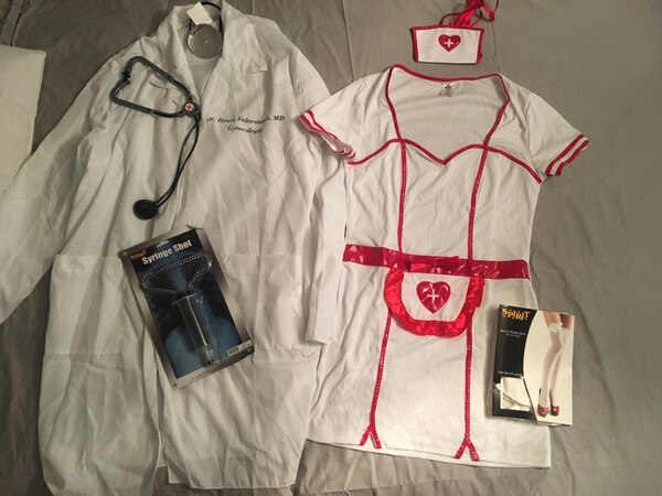 f74ddb3ac Used Nurse (M) and doctor Halloween costumes with props as seen for ...