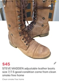 STEVE MADDEN adjustable leather boots size 7/7.5  London, N5W 6E2