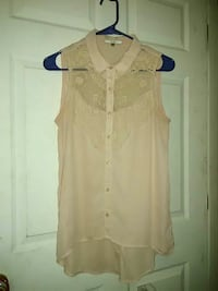 women's beige button up sleeveless top