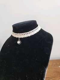 Handcrafted Cream Lace Choker with Pearl Pendant