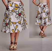 *WORN ONCE* Cotton Daisy Print Midi Full Skirt by LANE BRYANT