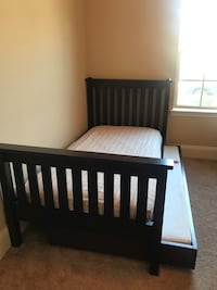 Crate & Barrel solid dark cherry wood twin bed with trundle & dresser