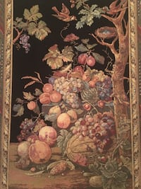 Beautiful fruit tapestry with decorative rod