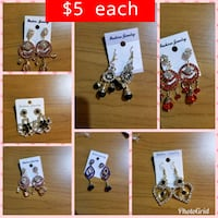 six assorted pairs of earrings