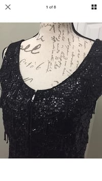 Vintage 1960's Black Sequin And Bead Zip Vest Pure Wool By British Crown Colony Made in Hong Kong 586 mi
