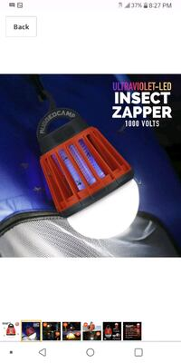 RECHARGEABLE WEATHER-PROOF INSECT ZAPPER+LED LIGHT