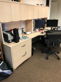Office Desk U-shape - 11 feet long x 8 feet wide, with 2 hutches, needs to be taken apart to move) Arlington