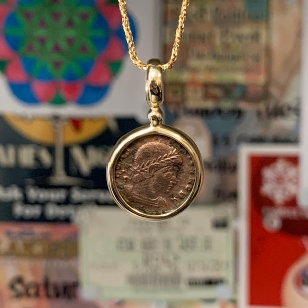 Genuine 14k Gold Roman Coin Pendant with 14k Rope Chain 3